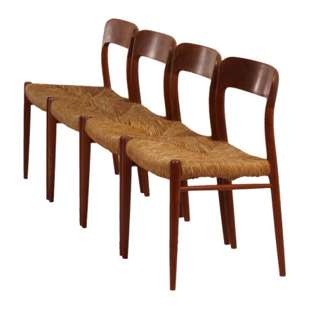 Four Danish Dining Chairs (model 75) by Niels Otto Moller for JL Møller Mobelfabrik, 1950s | Mid Century Design