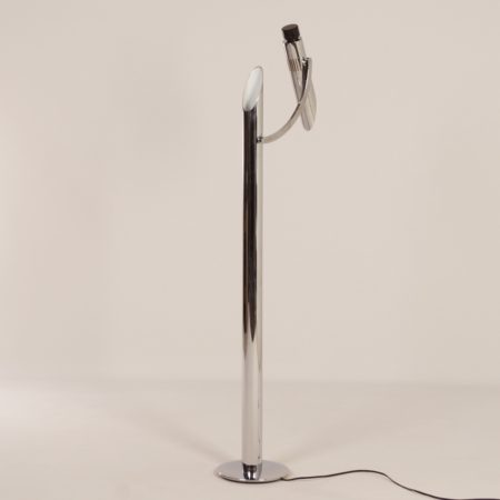 "Rare Chrome Floor Lamp Called ""Tharsis"" made at Fase, Madrid, 1970s"
