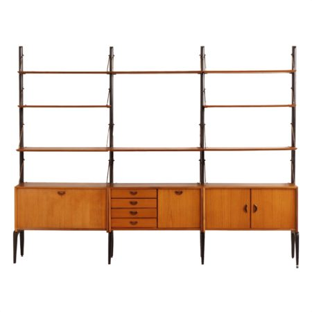 Teak Wall Unit by Louis van Teeffelen for Wébé, 1960s | Mid Century Design