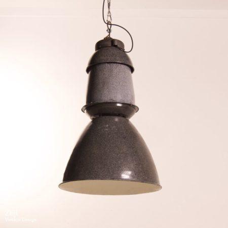 Big Enameled Factory Lamp by EFC, 1950s
