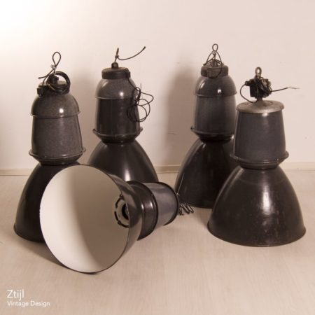 Big Enameled Factory Lamps by EFC, 1950s – (2)