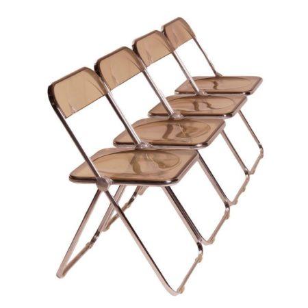 Set of Smoke Brown Plia Folding Chairs | Mid Century Design