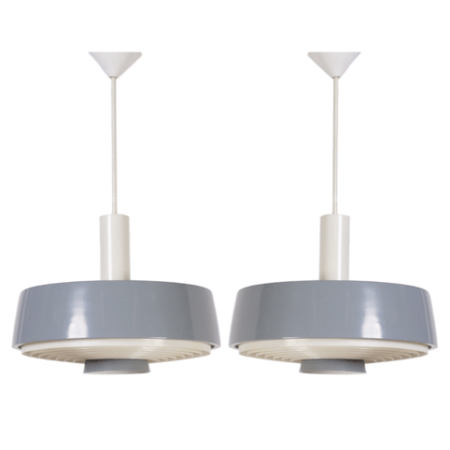 Pair of NT 72 E / 100 Grey Blue Pendants with Diffuser by Philips, 1960s | Mid Century Design