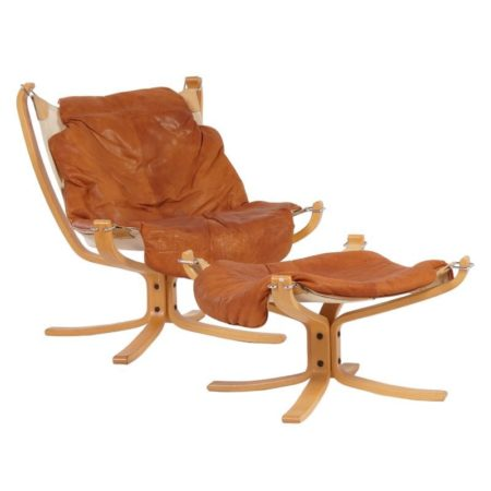 Seventies Sigurd Russel Falcon Chair With Footstool