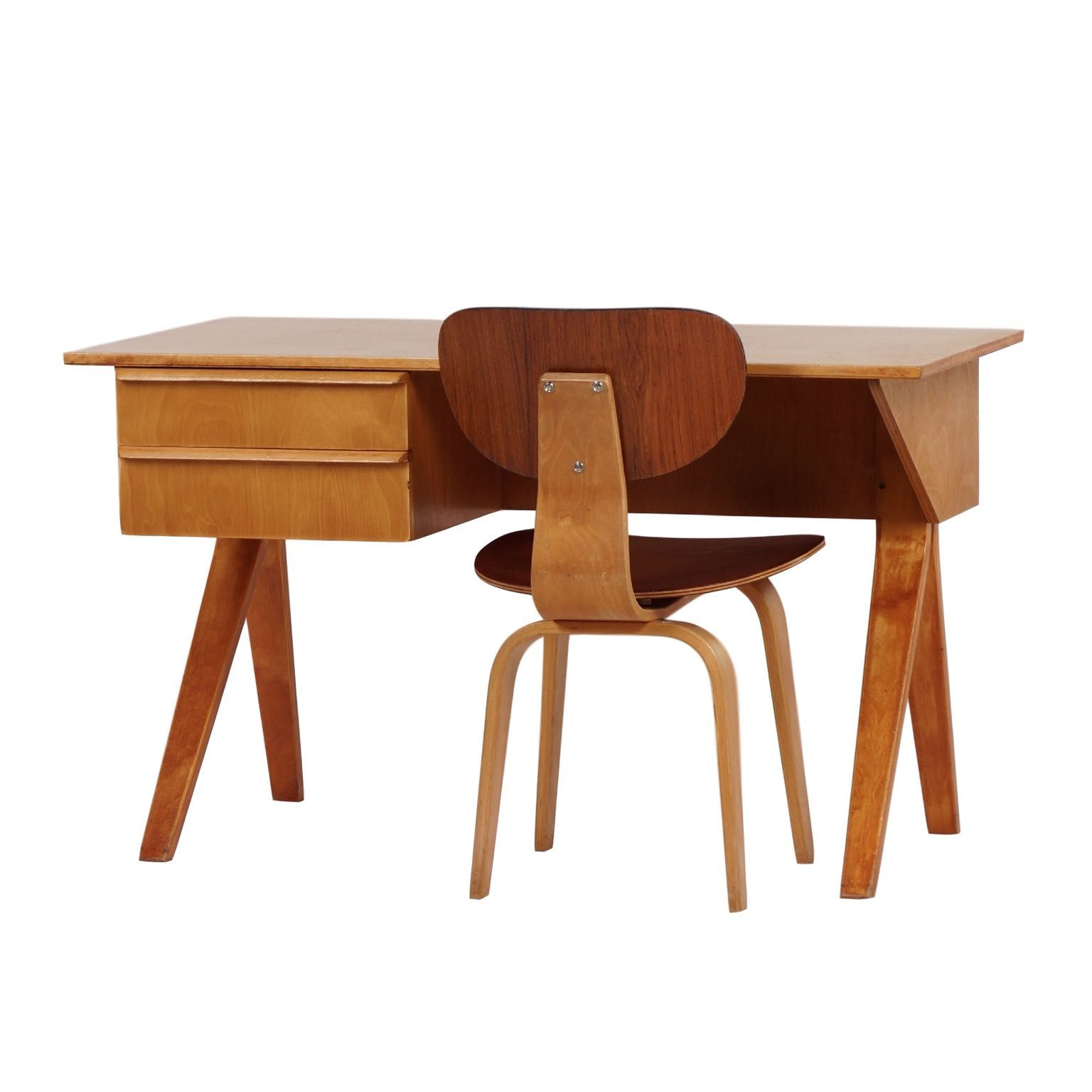 EB02 Desk Set Birch Series by Cees braakman for Pastoe, ca 1952 | Mid Century Design