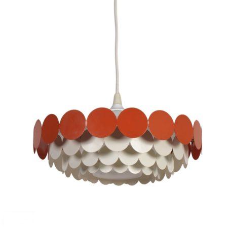 White Orange Metal Pendant Light for Doria, 1960s | Mid Century Design