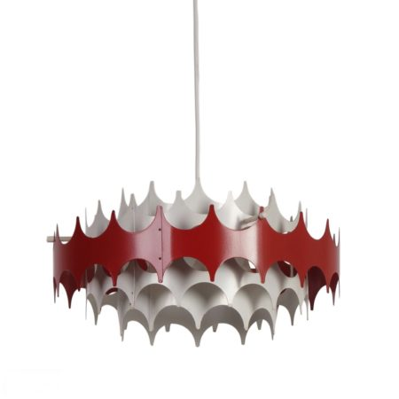 White and Red Metal Pendant Lamp for Doria, 1960s | Mid Century Design