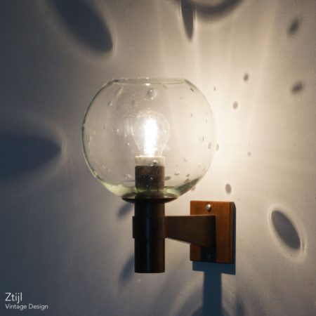 Pair of Brass Wall Lamps with Glass Sphere and Tear Drops ca. 1960