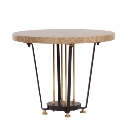 Round Italian Center Table of Brass and Marble, 1950s | Mid Century Design