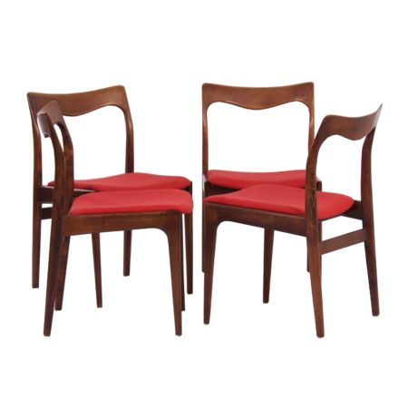 Red Rosewood Dining Chairs by AWA – 1960s, set of 4 | Mid Century Design