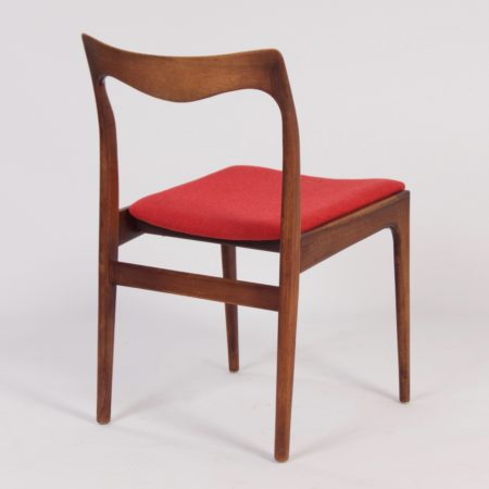 Red Rosewood Dining Chairs by AWA – 1960s, set of 4