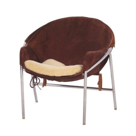 Dark Brown Suede Sling Chair by Erik Jørgensen for Bovirke, Denmark in 1953   Mid Century Design