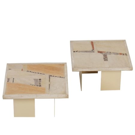 Off-White Paul Kingma coffee table's – Set of Two, 1982 | Mid Century Design