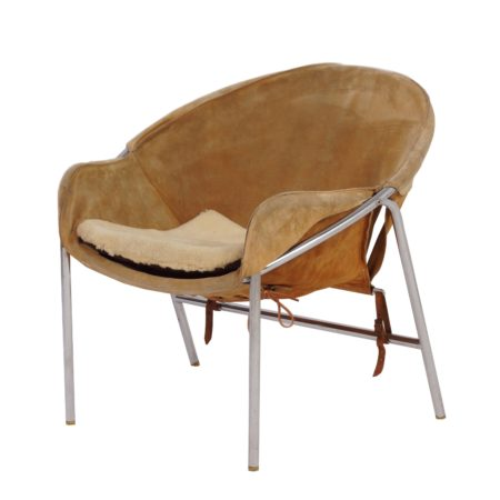 Light Brown Suede Sling Chair by Erik Jørgensen for Bovirke, Denmark in 1953 | Mid Century Design