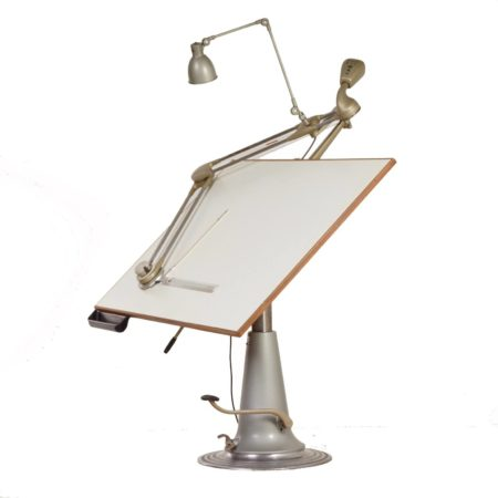 Industrial Nike Drafting Table, Lower Model with Jenny Drafting Arm and Lamp – Sweden, 1950s | Mid Century Design