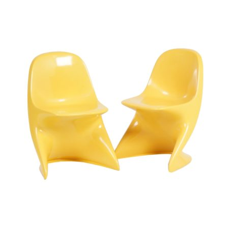 Casalino Childrens Chair by Alexander BEGGE for Casala,  1970 – set of two, yellow | Mid Century Design