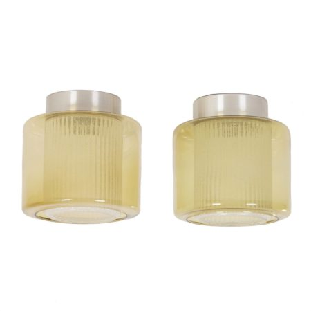 B-1264 RAAK Ceiling Lamps with Amber-yellow Glass Shade, 1970's – set of 2 | Mid Century Design