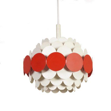 Doria Pendant | Orange White Metal, 1960s | Mid Century Design