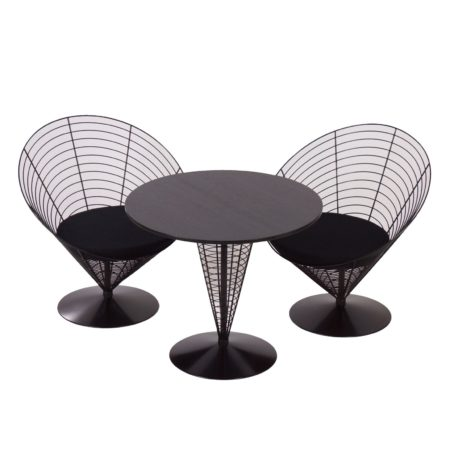 Wire Cone Table with Two Wire Cone Chairs by Verner PANTON for Fritz Hansen, 1988 | Mid Century Design