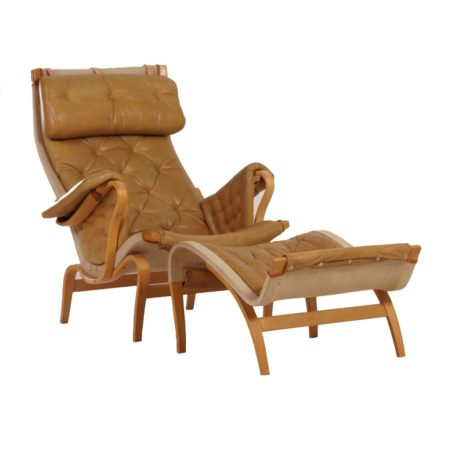 Leather Pernilla Lounge Chair with Ottoman by Bruno Mathsson for Dux – 1970s | Mid Century Design