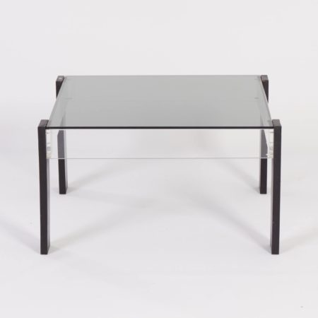 Square Vintage Coffee Table Made Of Ashwood Perspex And Glass 1970s