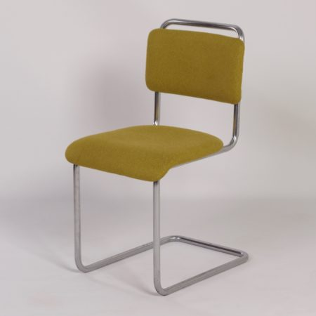 Gispen 101 Chair by W.H. GISPEN, 1930s – New Green Ploeg Fabric