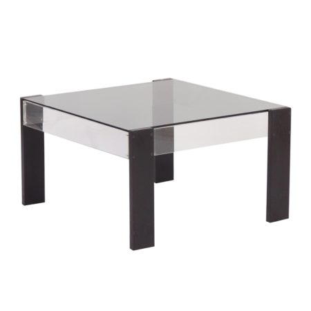 Small Square Vintage Coffee table made of Black Ashwood, Perspex and Glass, 1970s | Mid Century Design