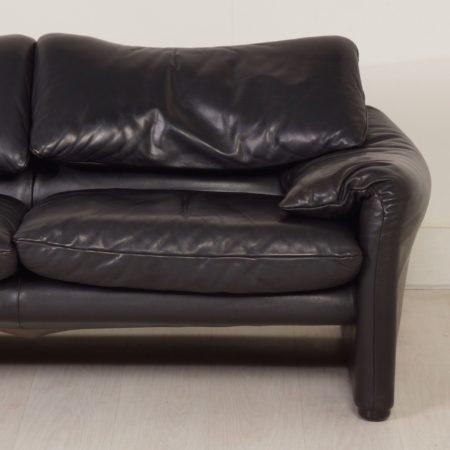 Maralunga 2-Seater by Vico Magistretti for Cassina, 1970s – Black Leather