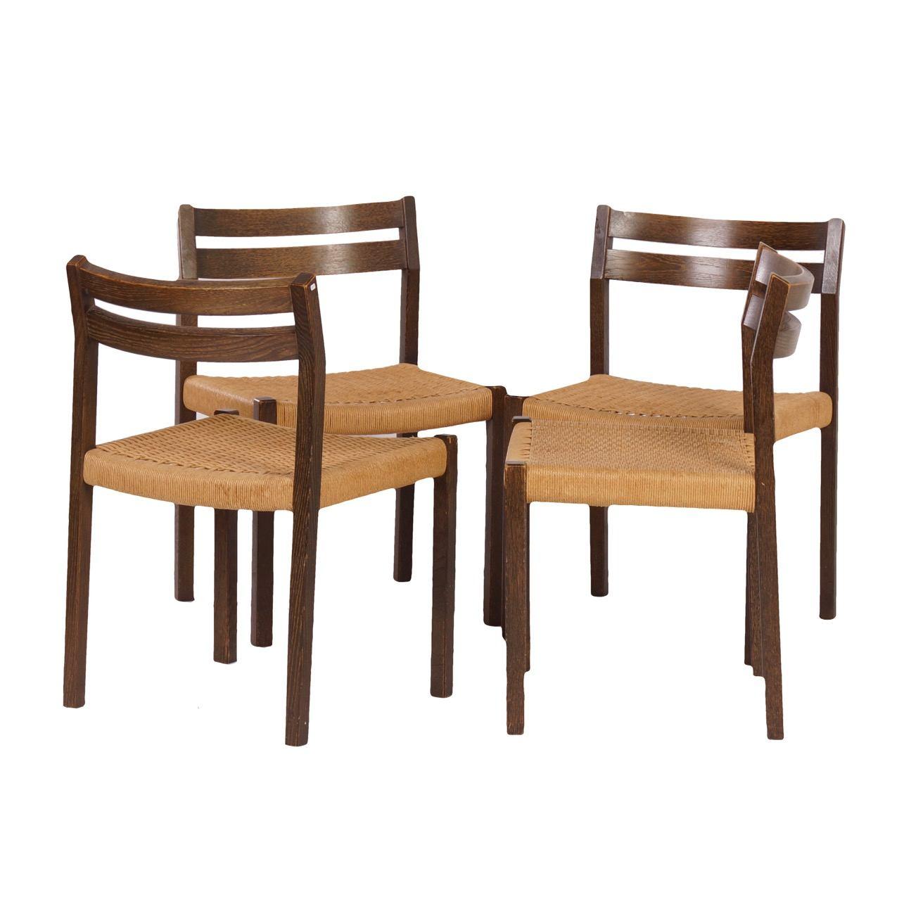 Danish 401 Dining Chairs By Jorgen Henrik Møller For J.L. Møller, 1974 U2013  Set Of