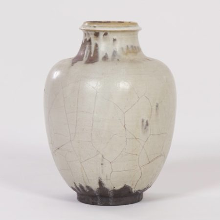 Large Hand-Made Ceramic MobachVase with White, Brown and Black Glaze, 1930s
