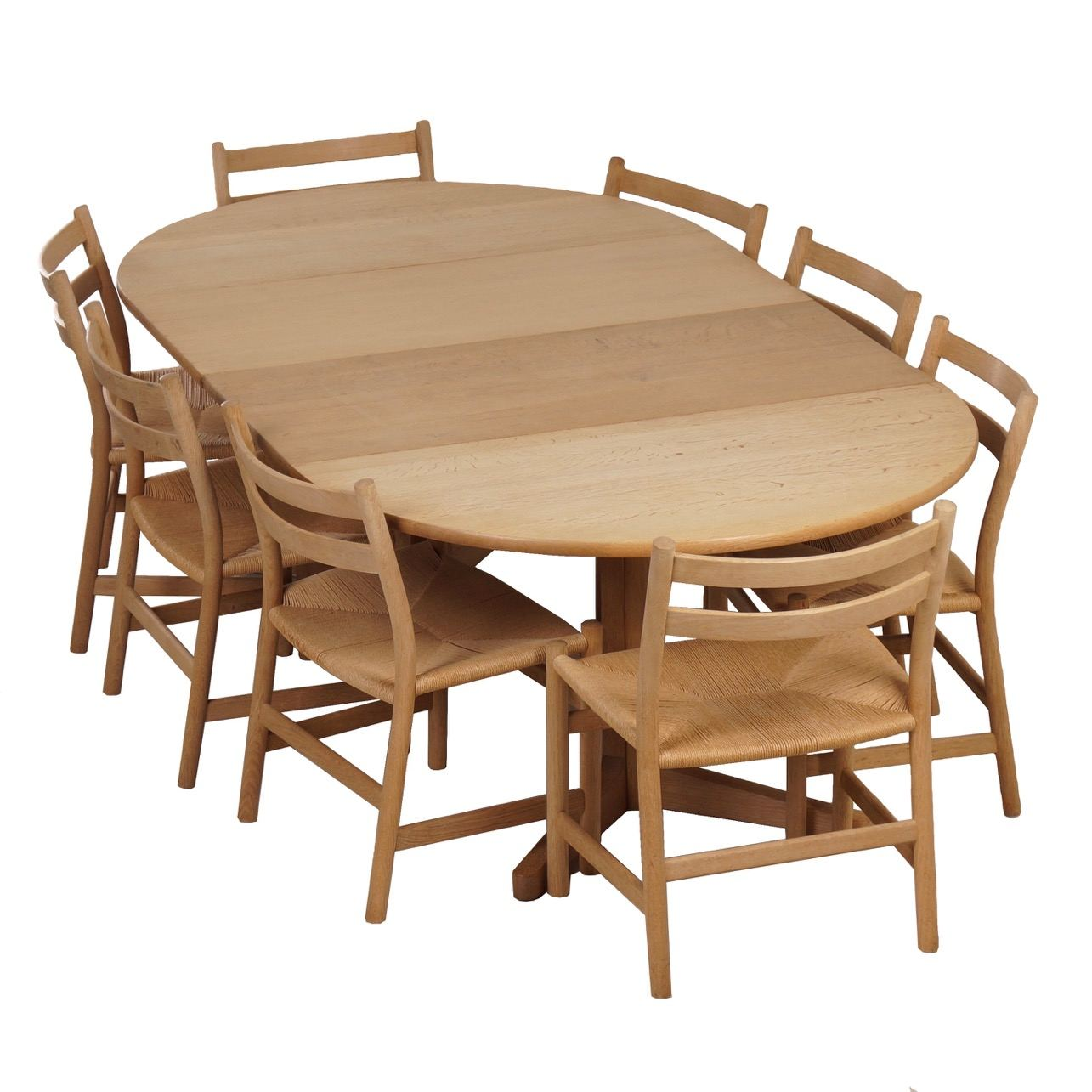 Blank Oak Dining Set with Hans Wegner Chairs and Møller Table, 1965.