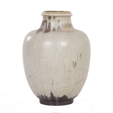 Large Hand-Made Ceramic Mobach Vase with White, Brown and Black Glaze, 1930s | Mid Century Design