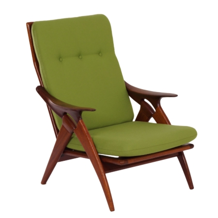 Dutch Teak Easy Chair ' The Knot' by De Ster, 1960s – Reupholstered with Green Fabric | Mid Century Design