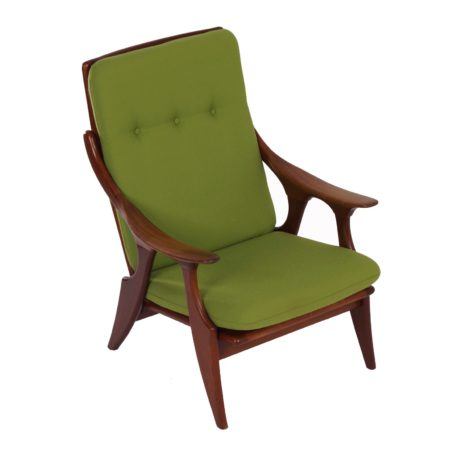 Teak Easy Chair by De Ster Gelderland, 1960s – Reupholstered with Green Fabric | Mid Century Design