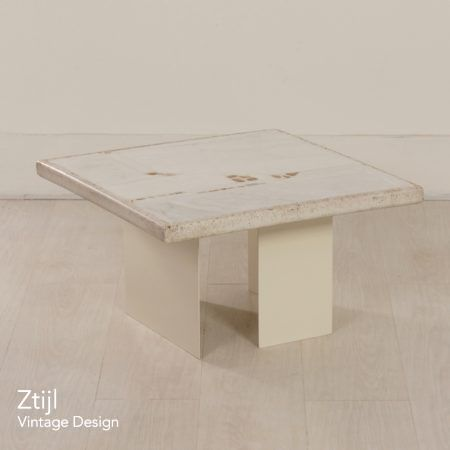 Small White Marble Coffee Table by Paul Kingma, 1980s