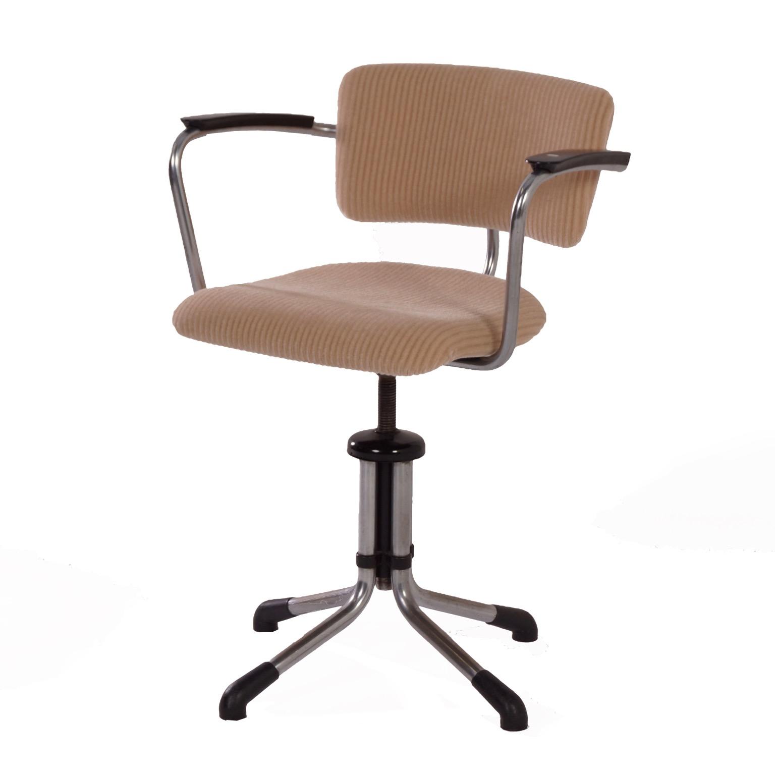 Swivel Gispen 354 Desk Chair By W H 1930s New Upholstery Mid Century