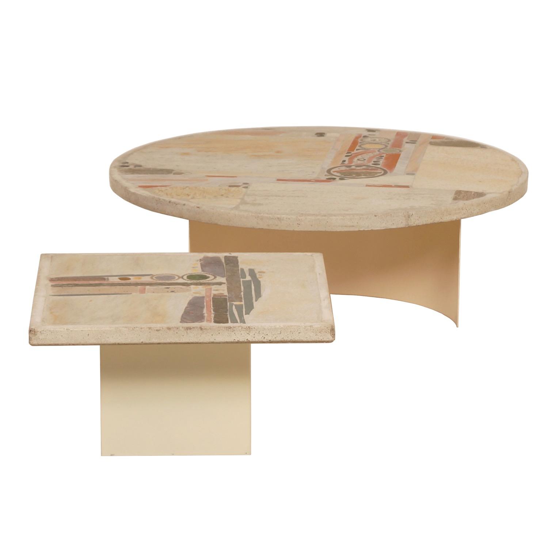 Set White Stone Coffee Tableu0027s By Paul Kingma, 1980 | Mid Century Design