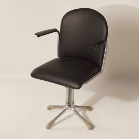 356 Desk Chair in Black Leather by W.H. Gispen, 1950s