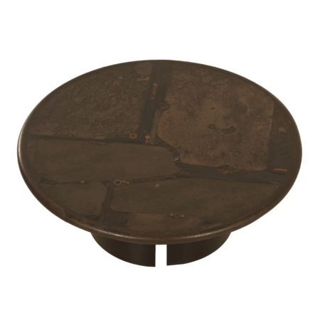 Brutalist Coffee Table by Paul Kingma, 1988 – Round, Brown, 100cm | Mid Century Design