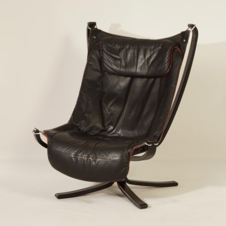 Black Leather Falcon Chair by Sigurd Russel for Vatne Mobler, 1970s