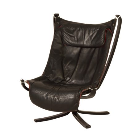 Black Leather Falcon Chair by Sigurd Russel for Vatne Mobler, 1970s | Mid Century Design