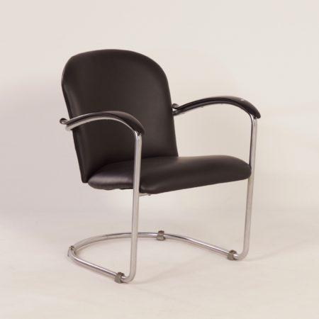 414 Ladies Armchair by W.H. Gispen for Gispen, 1930s   Re-upholstered