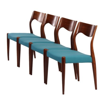 Rosewood Dining Chairs Model 71 by Niels Moller, 1960s | Mid Century Design
