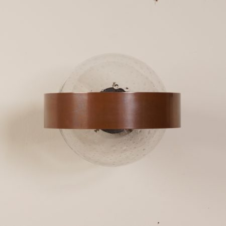 Indoor Wall Lamp of Clear Glass and Copper, 1970s