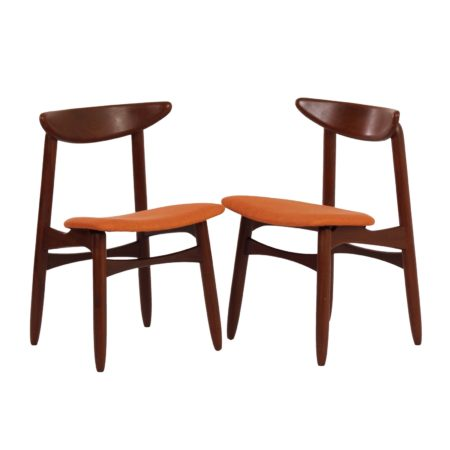 Danish Dining Chairs in Teak and orange fabric, 1960s – Set of 2 | Mid Century Design