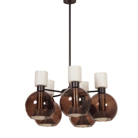 Glass Chandelier with Five Globes by RAAK, 1960s | Mid Century Design