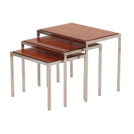 Rosewood Side Tables with Reversible White Formica Top, 1970s. | Mid Century Design