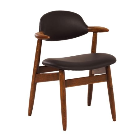 Cow Horn Chair With Black Leather by Tijsseling, 1960s – Reupholstered | Mid Century Design