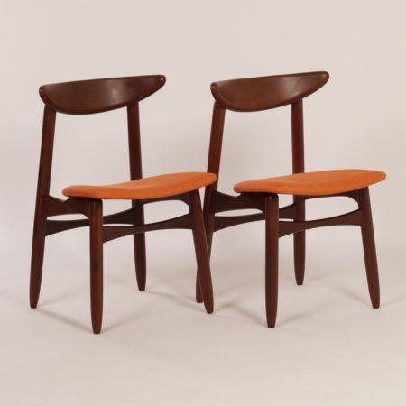 Danish Dining Chairs in Teak and orange fabric, 1960s – Set of 2