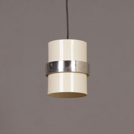White Cylinder Pendant with Decorative Polished Band by Philips, 1970s